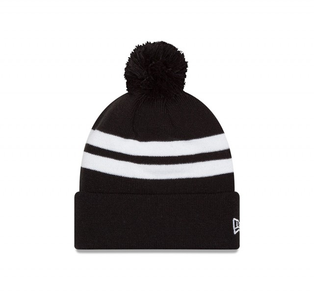Stripe Pom Cuff Knit Black